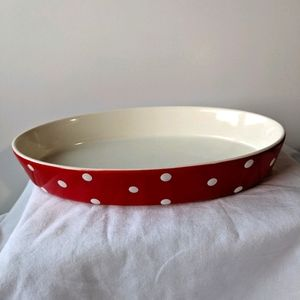 Spode Red White Polka Dots Baking Days Oval Dish